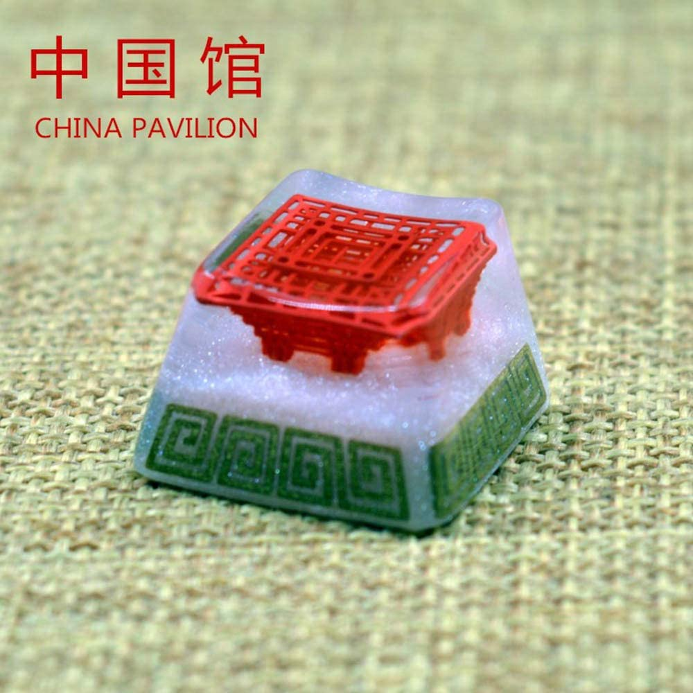 China Traditional Palace Design Resin Backlight Keycap for Cherry Switch Mechanical Keyboard Decoration DIY Handmade ESC Key Cap