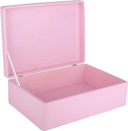 Creative Deco XL Rosa Grande Caja de Madera para Juguetes   40 x 30 x 14 cm (+/-1cm)   con Tapa Cofre para Decorar   para Almacenar Documentos, Objetos de Valor, Herramientas: Amazon.es: Hogar