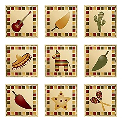 Wallmonkeys Mexican Squares Wall Decal Peel and Stick Vinyl Graphic WM352760