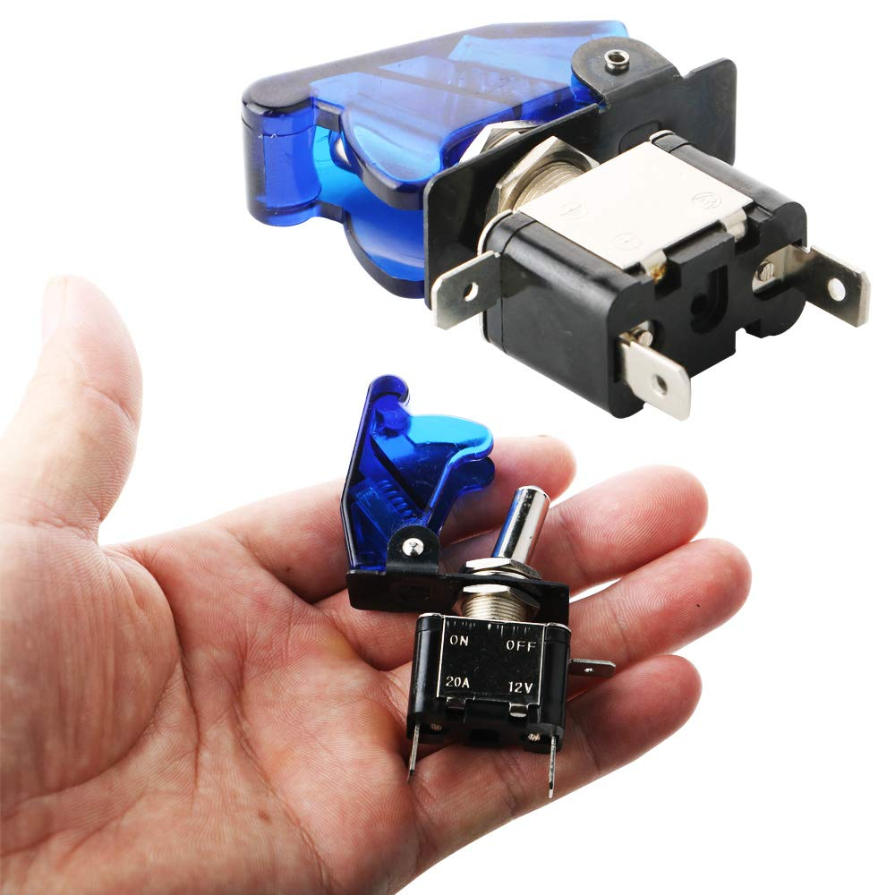 Levier On//Off LED ON-OFF SPST KINYOOO 3 x 12V 20A LED Bleu Interrupteurs Bascule COUVERTURE Auto Voiture-Bleu