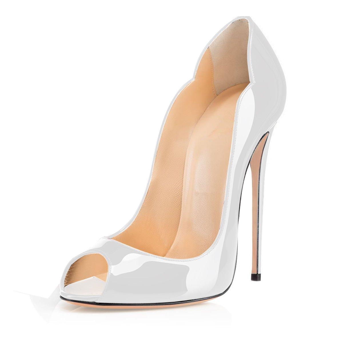 f01fef65bbca28 elashe Escarpins Femme Talon Haut | 12cm Bout Ouvert Talon Aiguille |  Pompes à Talons Hauts: Amazon.fr: Chaussures et Sacs