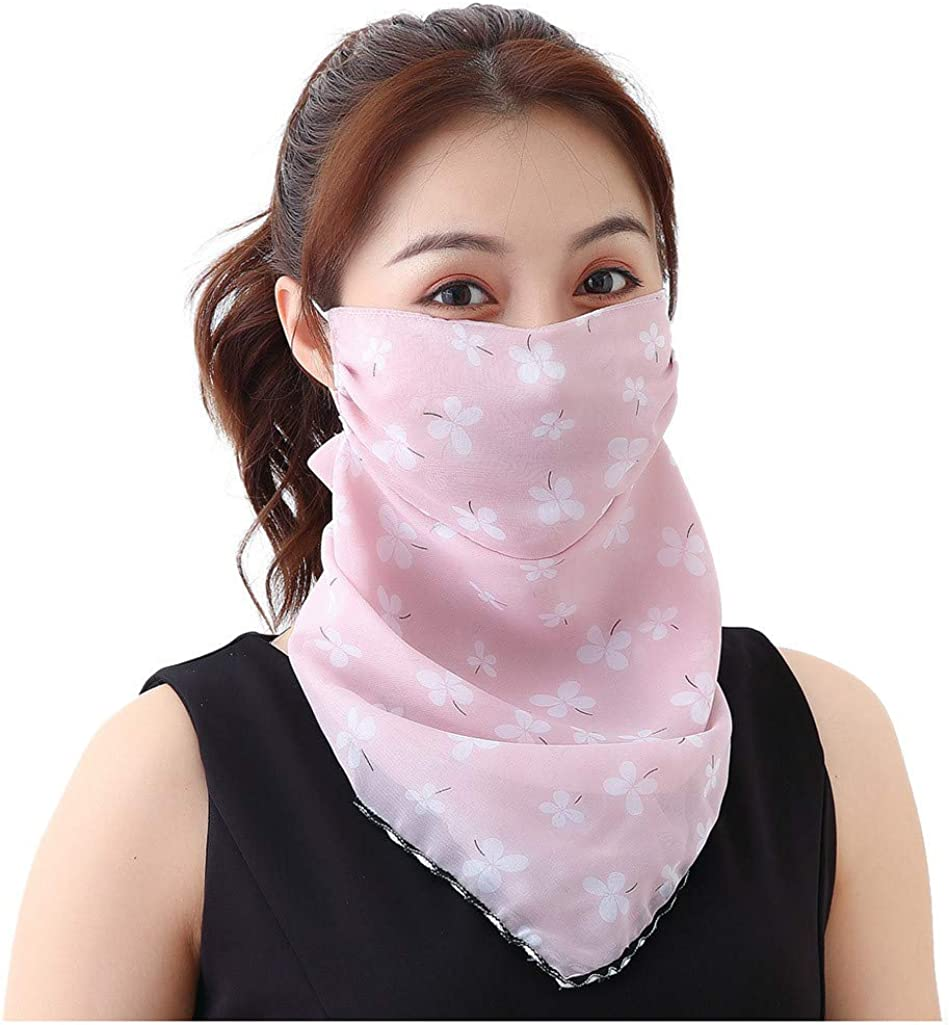 Lomelomme 2 Pack Women Sun Dust Bandanas Summer Neck Gaiter Scarf Chiffon Breathable Neck Cover Scarf for Fishing Motorcycling Running
