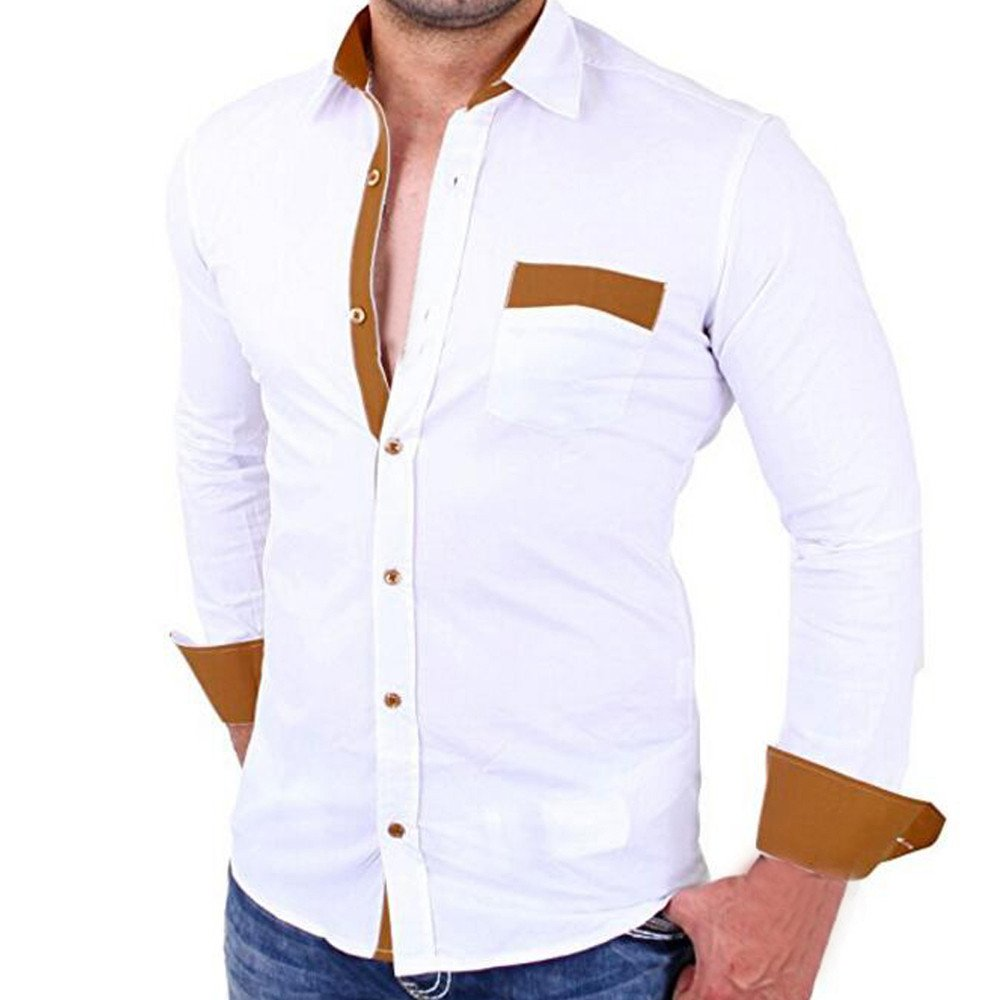 PASATO Classic Men's Casual Pullover Patchwork Long Sleeved Pocket T-shirt Top Blouse Clearance Sale(White, L=US:M)