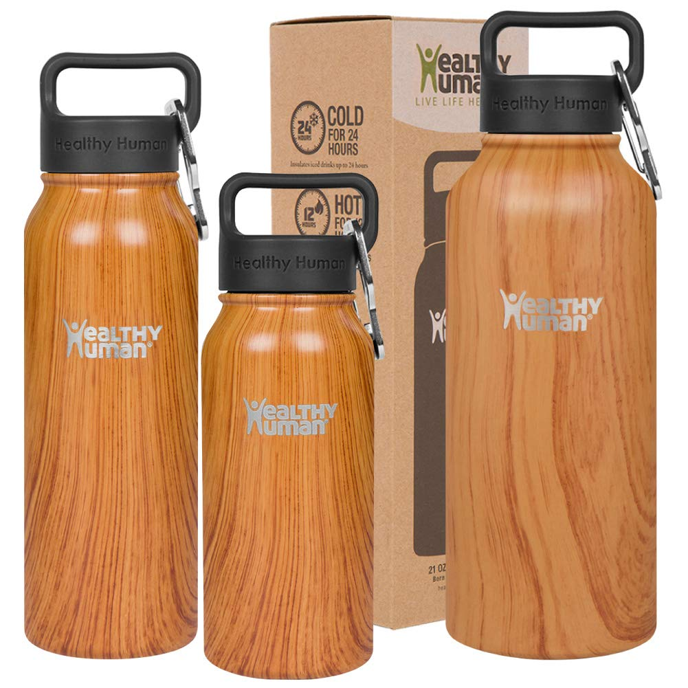Healthy Human Stainless Steel Vacuum Insulated Water Bottle | Keeps Cold 24 Hours, Hot 12 Hours | Double Walled Water Bottle | Carabiner and Hydro Guide | 40 oz Natural Wood