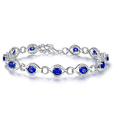 taille 40 c578b de6f3 Bracelet Femme Fine Saphir*0.42ct Bleu Diamant, Or Blanc 18 ...