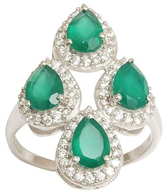 Banithani 925 Pure Silver Amazing Women Fashion Green Agate Stone Stud Earrings Jewelry
