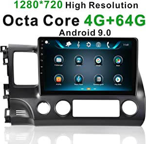 IYING Android 9.0 Car Multimedia Player Supports CarPlay 4GB+64GB 10.1 Inches 1280x720 IPS Screen Car Stereo Radio AM/FM GPS Navigation Bluetooth WiFi for Honda Civic 2006-2011