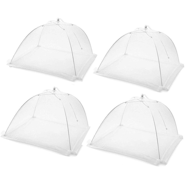 Cymax Pop-Up Große Faltbar Netzschutz Fliegenschirm Lebensmittel Abdeckung Zelt für Draußen,Picknicks & Zuhause, 43,2cmx43,2cmx 27,9 cm (4 Stück-weiß)