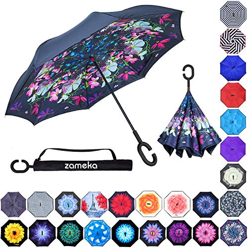 (Zameka Double Layer Inverted Umbrellas Reverse Folding Umbrella Windproof UV Protection Big Straight Umbrella Inside Out Upside Down for Car Rain Outdoor with C-Shaped Handle (D Flower))