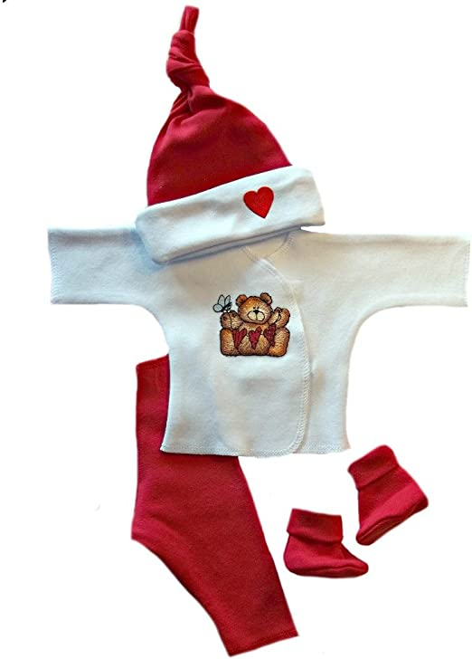 Knotted Unisex Baby Hat with Red Heart 7 Preemie Newborn Infant Toddler Sizes