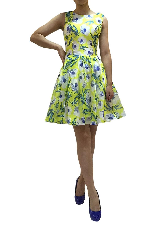 Prom Style Fashion Armlos Stoffdruck Chiffon Partykleider Cocktailkleider Kurz Minikleider A-Linie