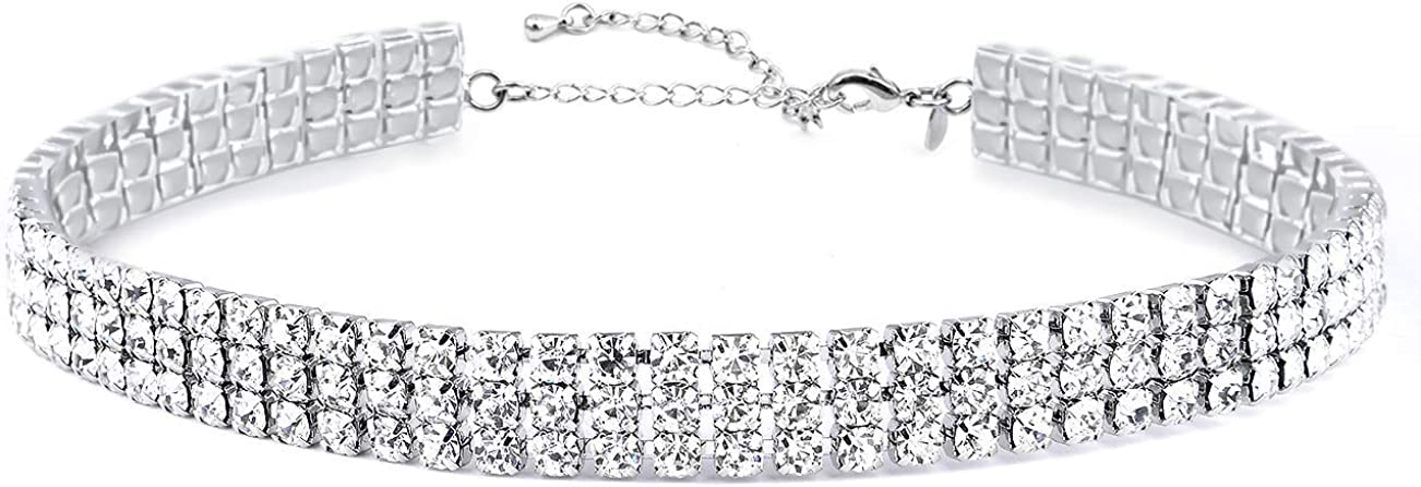 Zealmer Women 3 Row Clear Rhinestone Choker Necklace Silver Tone: Jewelry