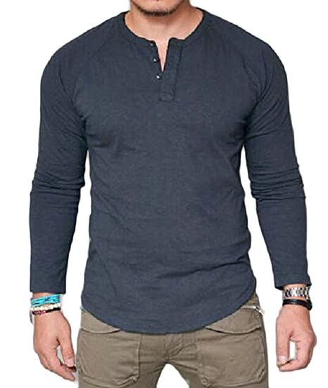65d1e49039b Sweatwater Men s Pure Colour Slimming V Neck Pure Color Long Sleeve Tops Tee  T-Shirt
