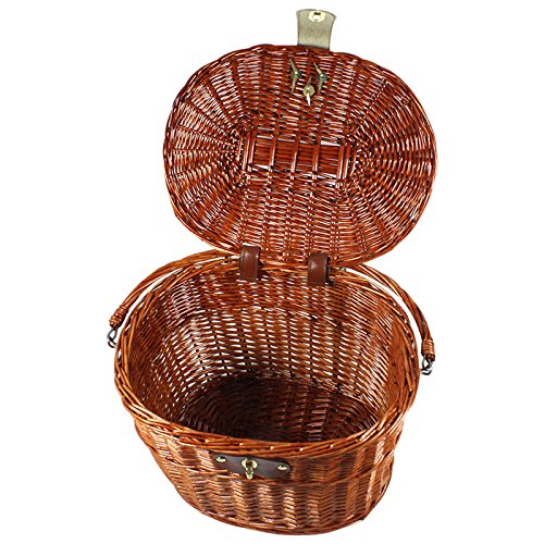 Wicker Pet Bicycle Basket (Brown Wicker Willow Bicycle Front Basket Large For Pets Shopping)