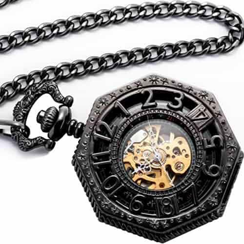 Smart.Deal Men's Magic Mechanical Pocket Watch Black Octagon Case Steampunk Golden Movement Analog Chain