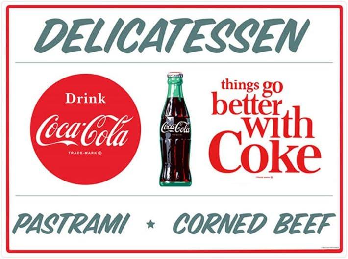 EffortLife Delicatessen Coca-Cola Tin Signs Retro Wall Decor Vintage Bar Signs Coke Tin Sign 12 X 8 Inch