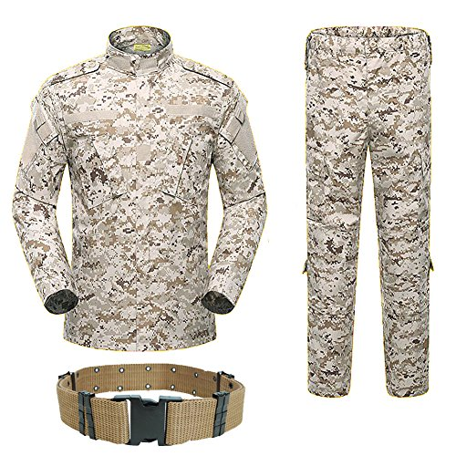 H World Shopping Men Tactical BDU Combat Uniform Jacket Shirt & Pants Suit for Army Military Airsoft Paintball Hunting Shooting War Game Desert Digital (AOR1 (L)