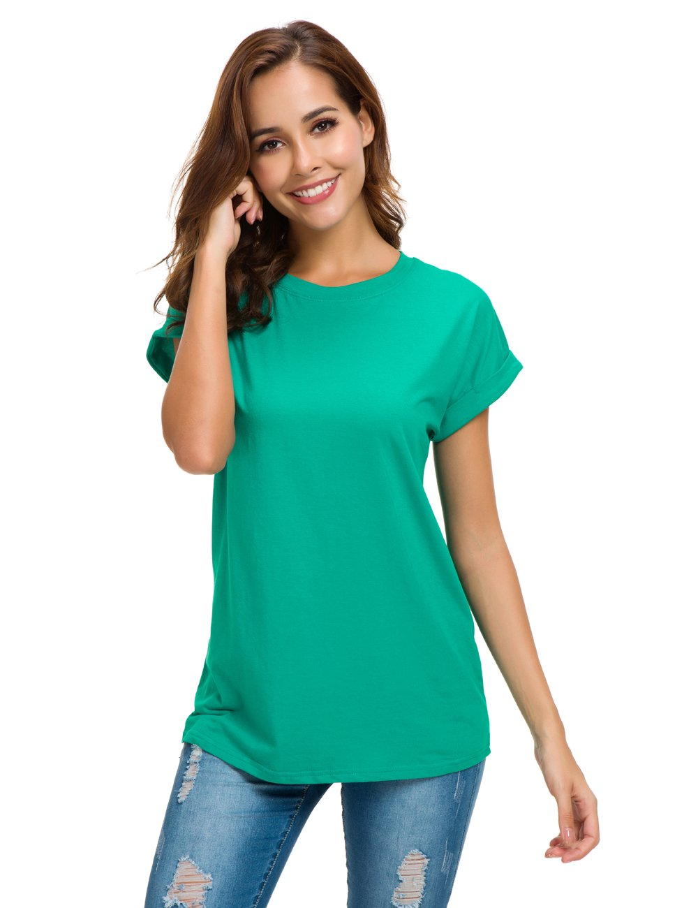 MSHING Women's Simple Crew Neck Plain Loose T-Shirt Summer Casual Tops
