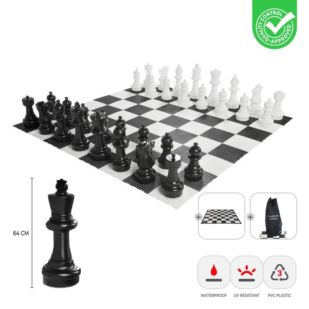Schachfiguren + Matte und Tasche Ubergames XXXL Gartenschach Spiele - Giga Schachfiguren bis 64 cm Groß - Wasserdicht und UV-Besteändig (Schachfiguren + Matte und Tasche)