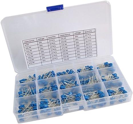 MagiDeal 300 Pcs Kit DAssortiment Condensateur Variable Outil pour Voiture