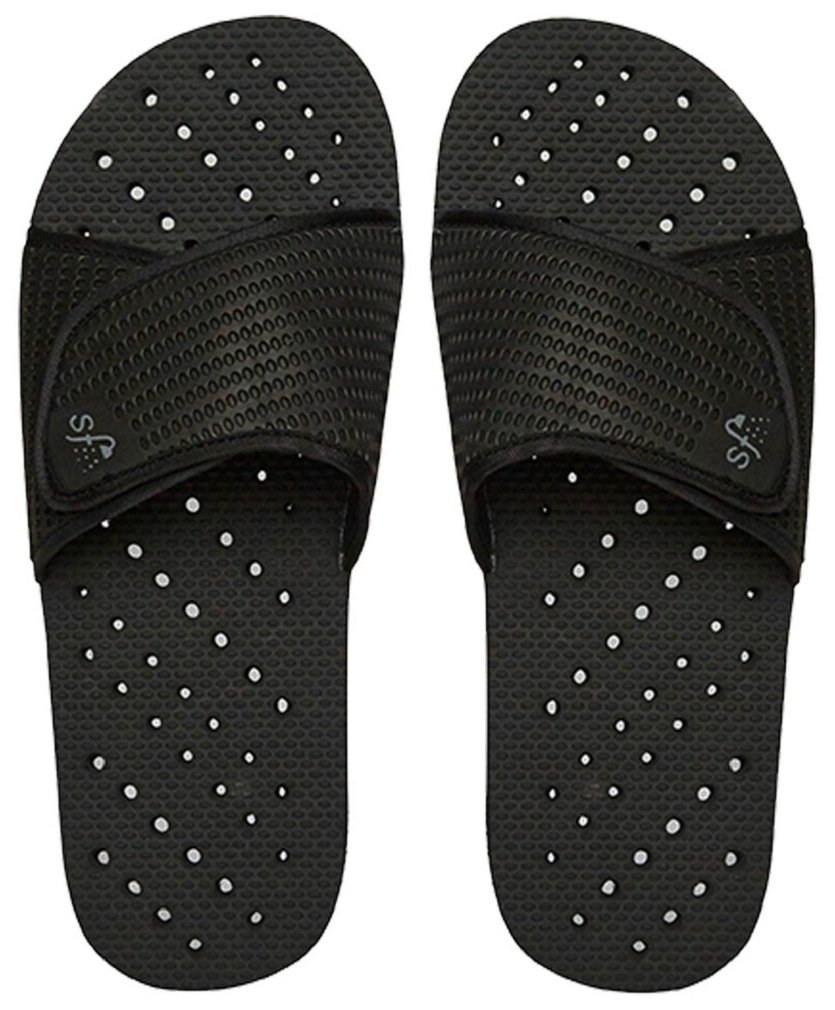 Showaflops Mens' Antimicrobial Shower & Water Sandals for Pool, Beach, Dorm and Gym - Black Slide 9/10