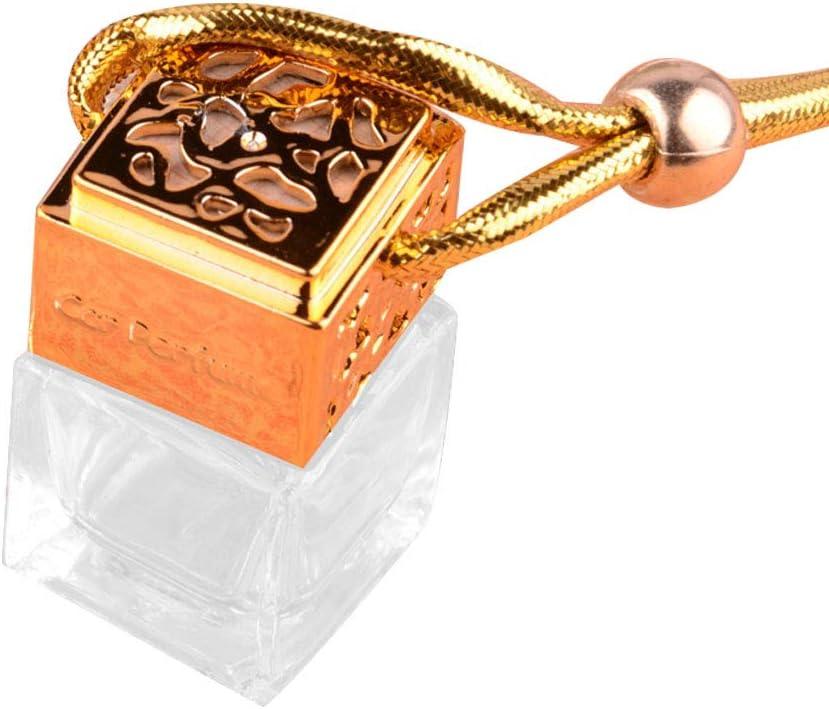 Momangel - Botella de Cristal para Colgar con Perfume de Coche vacía, Adorno con Colgante de ambientador, Golden, Talla única