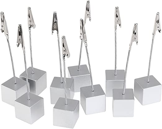 Cube Stand Metal Wires Photo Clips Card Picture Memo Clip Holders Table Decor