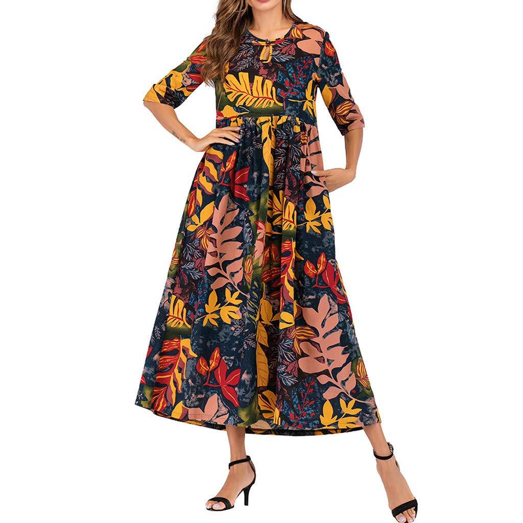 Onegirl Women's Summer Casual Loose Maxi Dress Plus Size Half Sleeve Folk-Custom Leaves Print Thin Cotton Long Dress Yellow