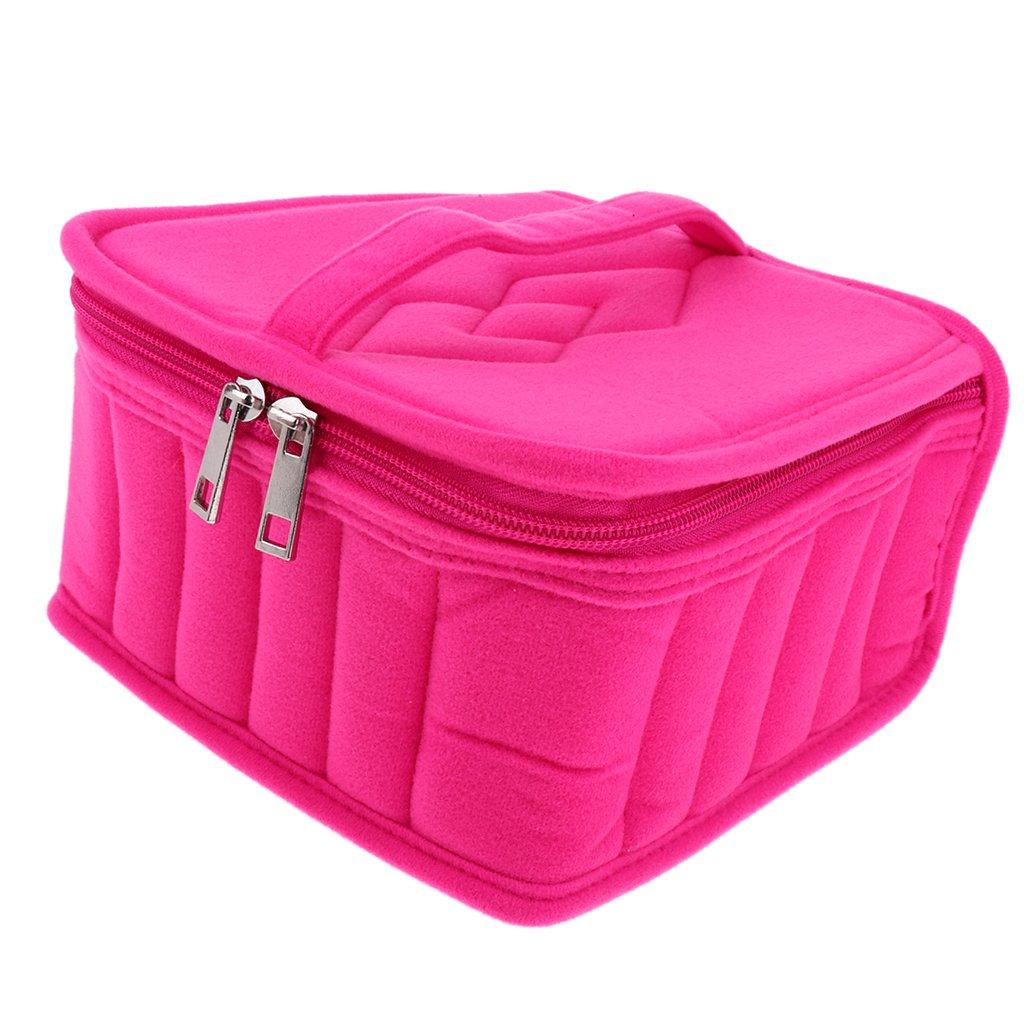 MagiDeal 7 Colors Velvet Essential Oil Carrying Case Storage Bag Holder 36 Slots - Rose Red