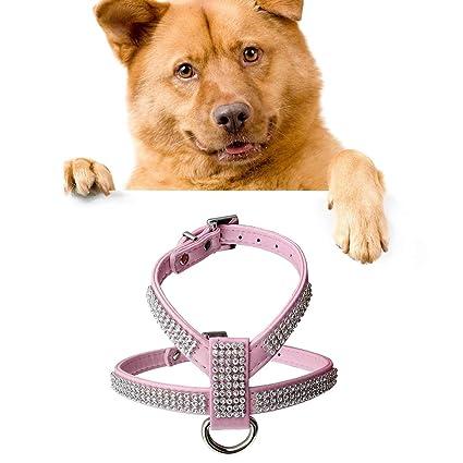 HongGXD Rhinestone Lujoso PU Collar de Perro Suave Respirable ...