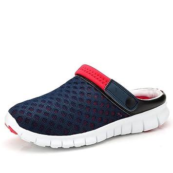LXXAUnisex Sommer Strand Breathable Ineinander Greifen Geringes Gewicht Trekking-Schuhe Sport Sandalen Sportschuh Zwei Anwendungen,Red+blue-36EU