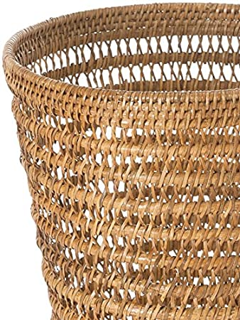 Kouboo la Jolla Rattan Mesh Round Waste Basket 27.94 x 27.94 x 30.48 cm Rattan e Vimini Honey Brown Honey Brown P