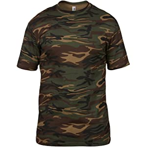 41c6f63ca2fd2c Men s 100% Cotton Camouflage Camo Army Short Sleeve T Shirt Green ...
