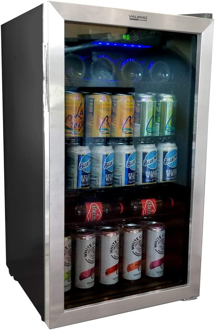 VALEMO HOME Beverage Refrigerator and Cooler - 140 Can Mini Fridge, Stainless Steel and Glass Door Refrigerated Cooler for Soda, Beer and Wine for Home, Office or Bar with 4 Removable Shelves