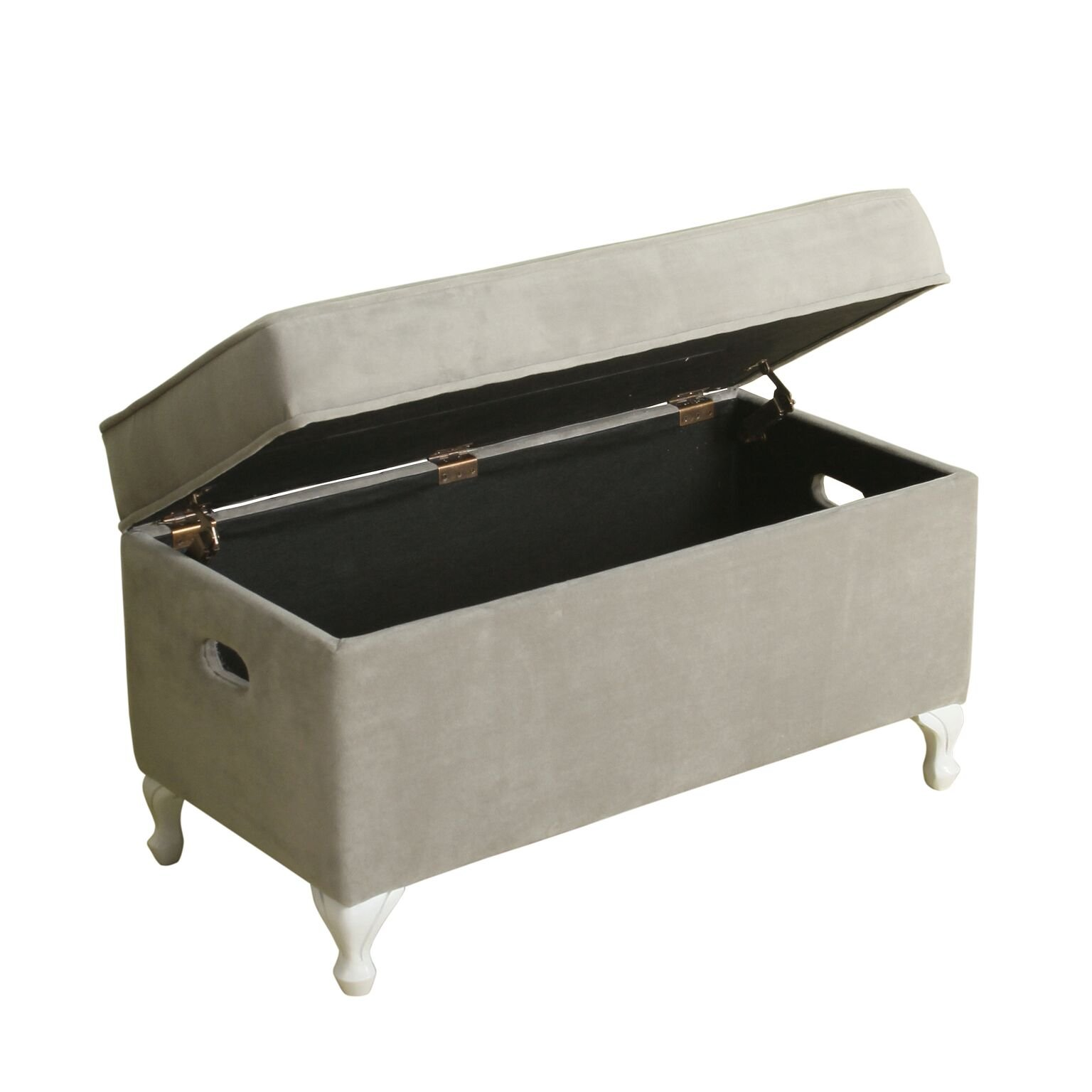 HomePop Diva Youth Velvet Decorative Storage Bench with White Wood Legs, Grey by HomePop (Image #2)