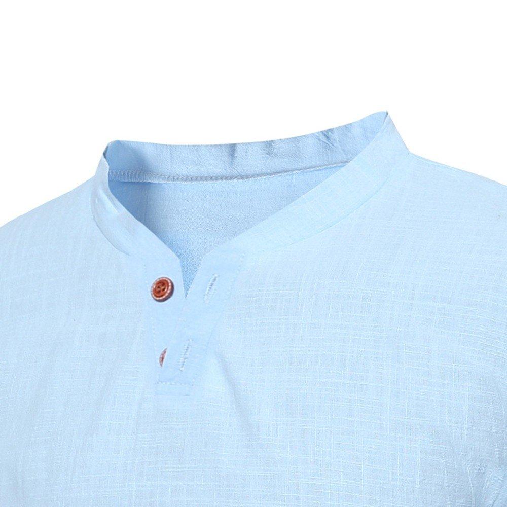 Sleeve T-Shirt Buton Linen Solid Blouse Tee Mens Casual Tops Summer Short