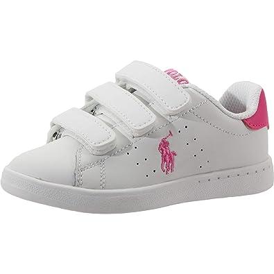 Polo Ralph Lauren Quilton EZ T White Baja Pink Leather Baby Sneakers   Amazon.fr  Chaussures et Sacs 5fa3a1608da