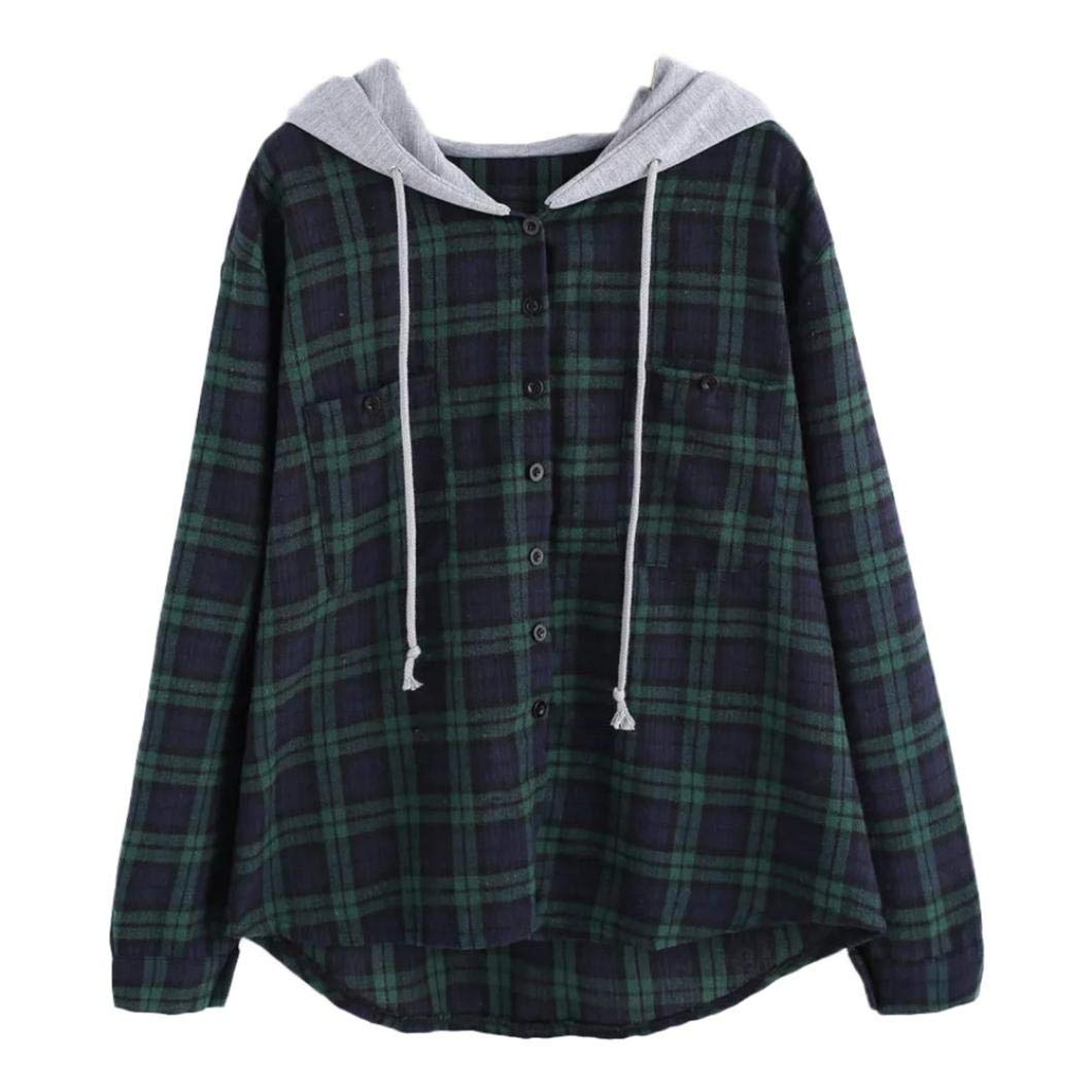 KFSO Womens Long Sleeve Plaid Print Patchwork O Neck Sweatshirt Button Hooded Blouse (Green, S)