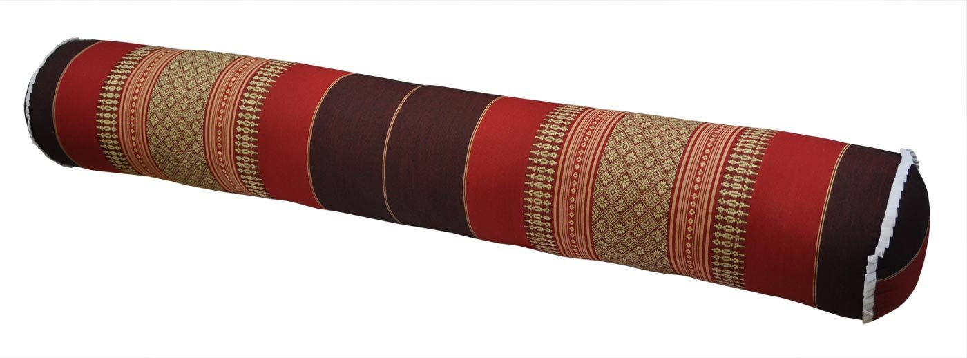 Thai cushion round bolster, pillow, sofa, imported from Thaïland, burgundy/red, relaxation, beach, pool, meditation garden (82312) by Wilai GmbH