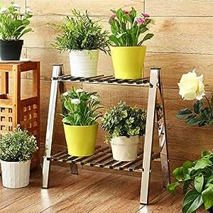 LLDHUAJIA LIANGLIANG Acero Inoxidable Trapezoidal Flower Rack/estantes Rectangular Living Room Balcón Piso de Flores Pot Rack Rack de Almacenamiento