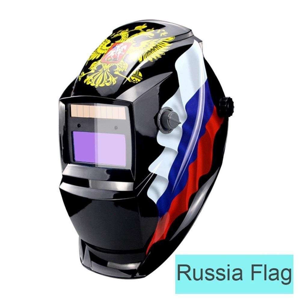 YUANYUAN521 Li Battery/Solar Power Auto Darkening TIG MIG MMA MAG KR KC Electric Welding Mask/Helmets/Welder Glasses for Welder (Color : Russia Flag) by YUANYUAN521