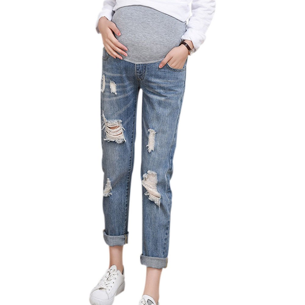 Xinvision Blue Maternity Elastic Adjustable Tassel Ripped Jeans Pregnancy Pants Ltd.