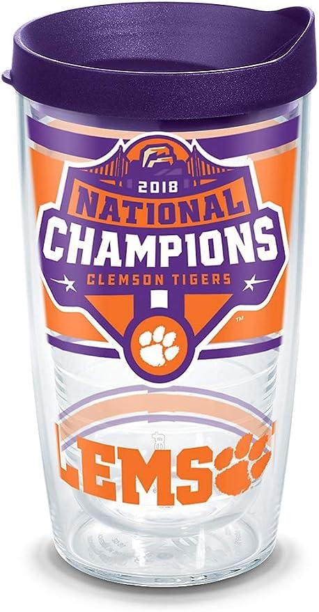 Great American NCAA Clemson Tigers 16 oz Travel Tumbler with Metallic Wrap