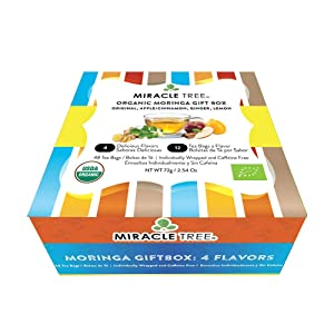 Miracle Tree - Gift Box with Organic Moringa Superfood Tea, 48 Individually Sealed Tea Bags (4 Flavors: Original, Apple/Cinnamon, Ginger, & Lemon) - Vitality Combo