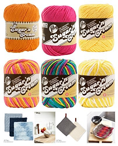 Variety Assortment Lily Sugar'n Cream Yarn 100 Percent Cotton Solids and Ombres (6-Pack) Medium Number 4 Worsted Bundle with 4 Patterns (Asst 35) by Spinrite®