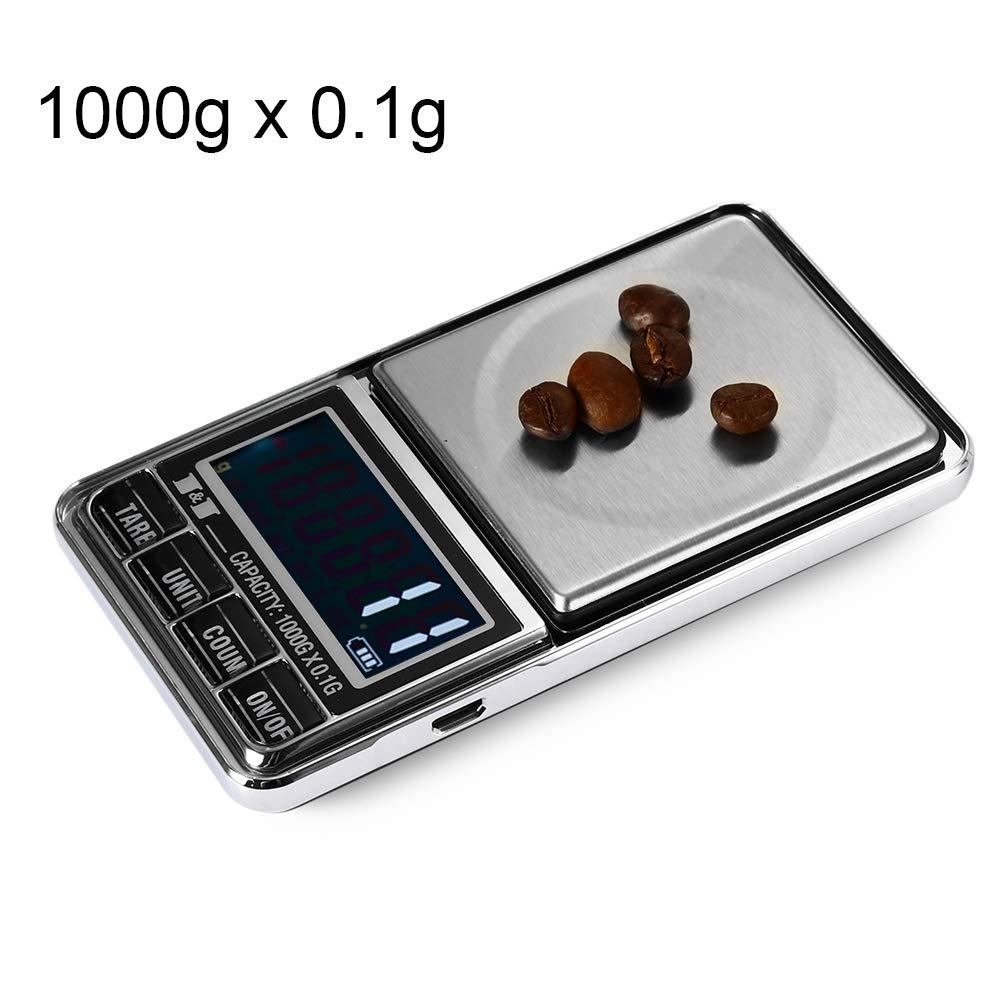 Xiaochou@sl Unità di bilanciamento digitale ad alta precisione da 1000 gx 0,1 g con schermo LCD da 2,0 pollici, dimensioni: 12 * 6.5 * 1.6 cm Portatile