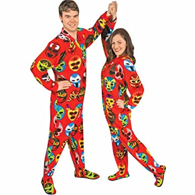 Footed Pajamas Mexican Wrestling Masks Fleece with Drop Seat