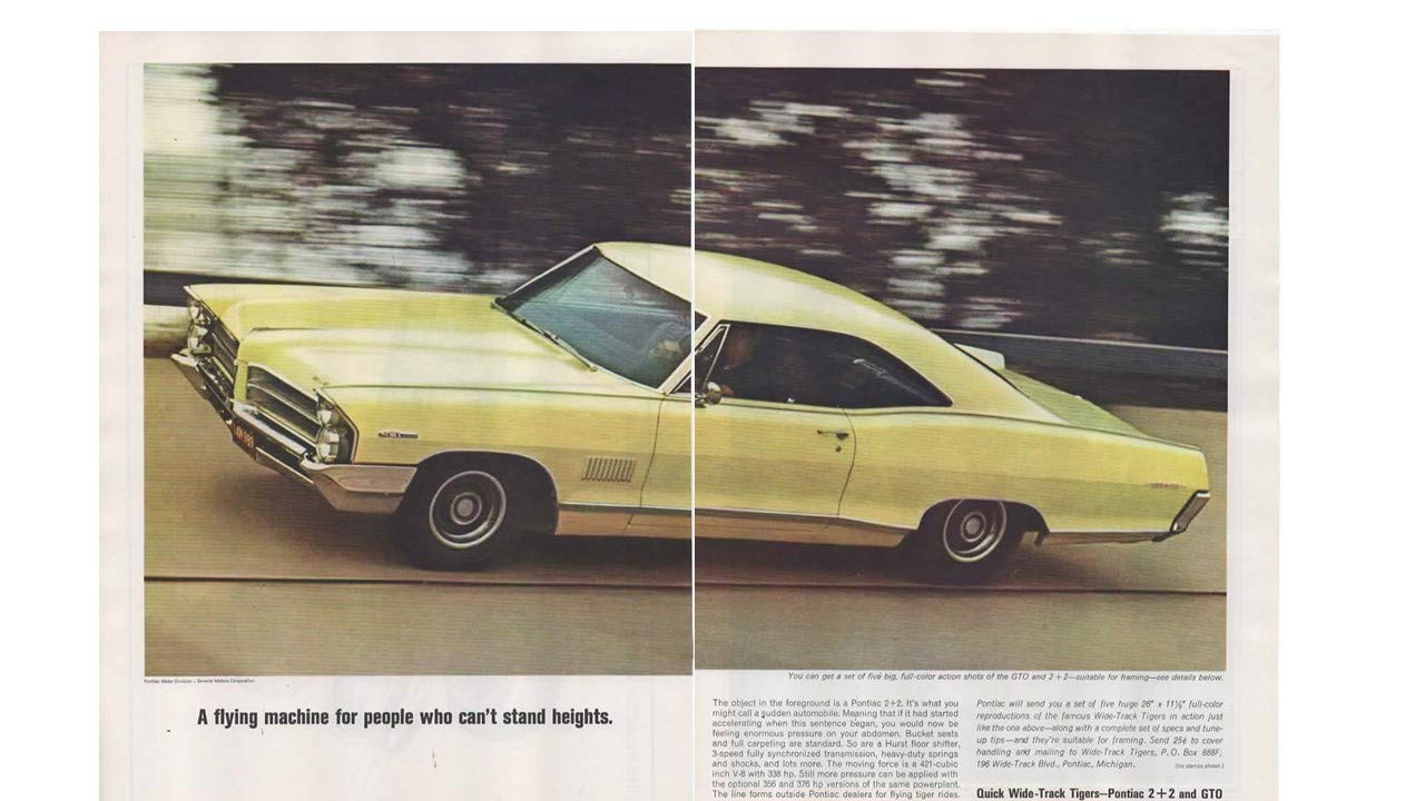 Amazon com: Magazine Print Ad: 1965 Pontiac GTO, 2 + 2, Mayfair