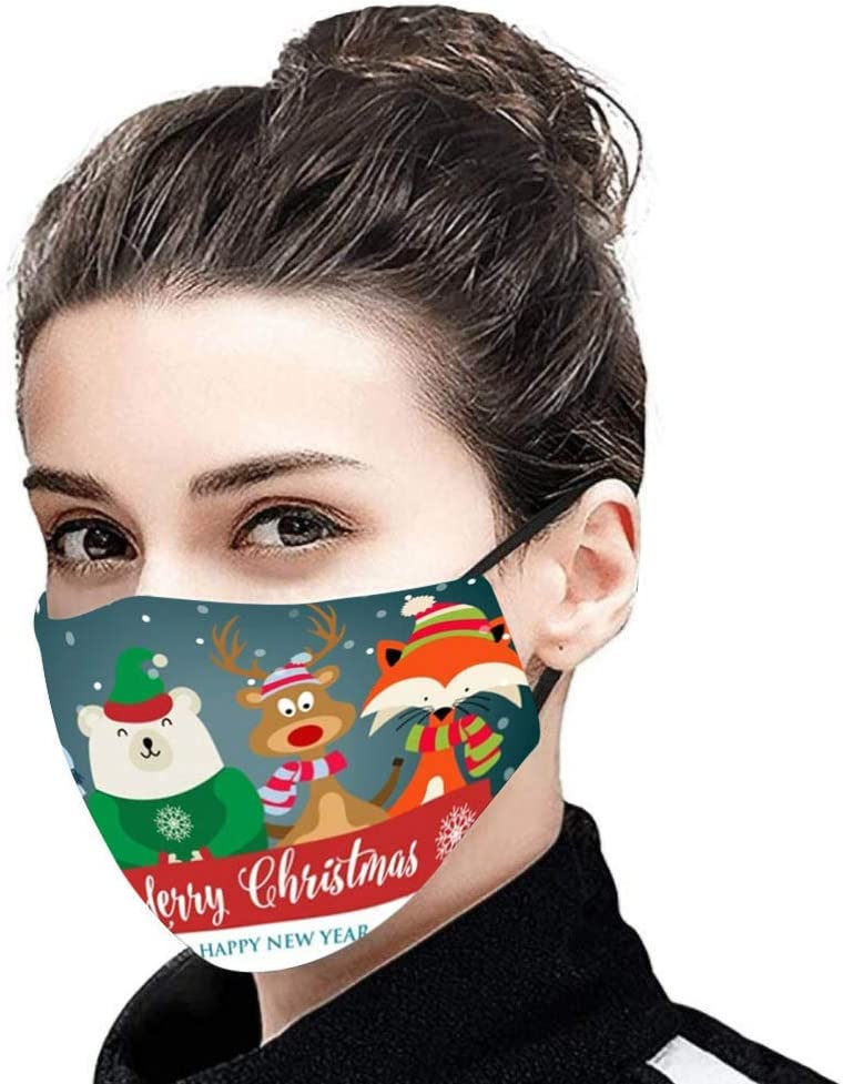 HuaMore 1PC Tela de algod/ón Lavable para Unisex Mujeres Hombres Face/_Mascarillas Estampado navide/ño Estampado de Bandana Transpirable Lavable Reutilizable