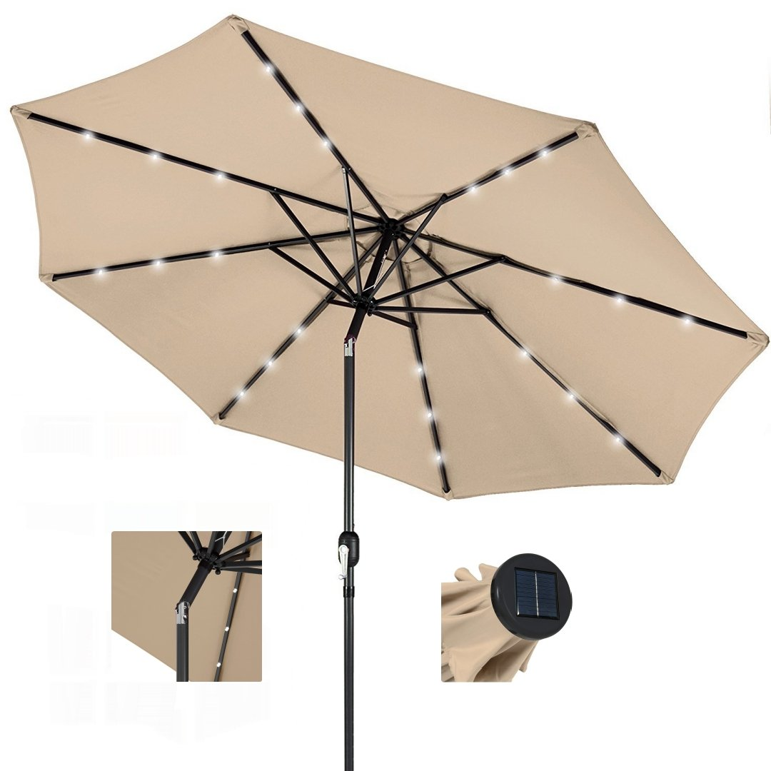 koonlert14 10ft Outdoor Patio Aluminium Umbrella Sunshade UV Blocking Pre-installed Solar Power LED w/Hand-Crank and Tilt System - Beige #1901